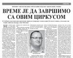 Milanko za Somborske novine: Vreme je da završimo sa ovim cirkusom