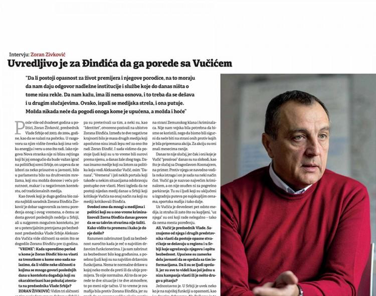 Živković za Vreme: Uvreda je poređenje Đinđića i Vučića