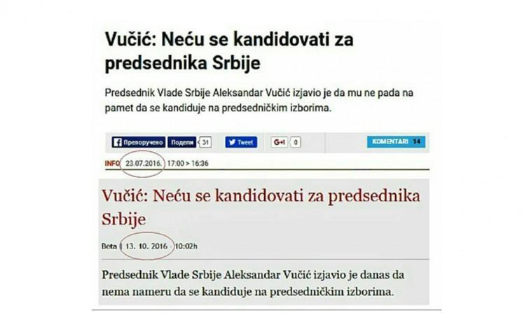 Kandidatura Vučića dokaz njegove nedoslednosti i despotizma