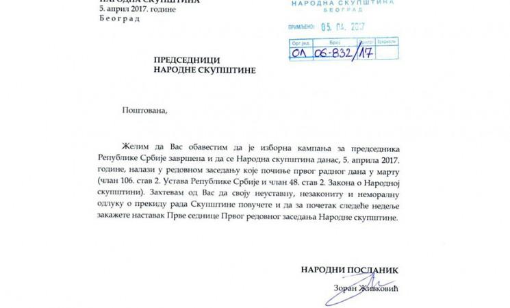 Živković zatražio povlačenje neustavne odluke o prekidu rada parlamenta