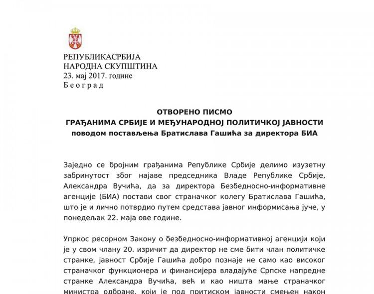 Otvoreno pismo građanima Srbije i međunarodnoj političkoj javnosti