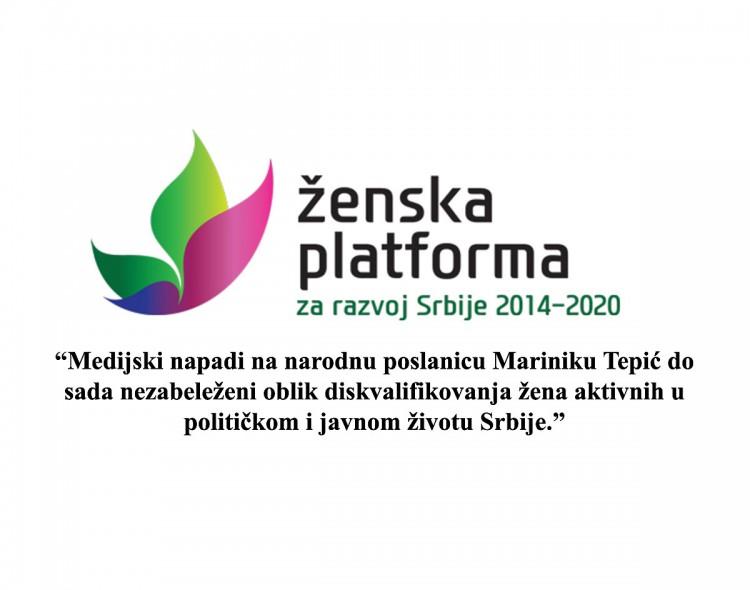 Ženska platforma za razvoj Srbije osudila tabloidnu hajku na Mariniku Tepić